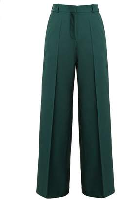 Racil - Cumberland Contrast Panel Wool Trousers - Womens - Green