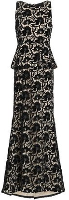 Alice + Olivia Open-Back Macramé Lace Peplum Gown