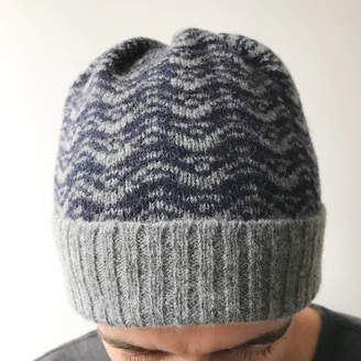 f76fee0c897 Little Knitted Stars Mens Grey And Navy Knitted Lambswool Beanie Hat