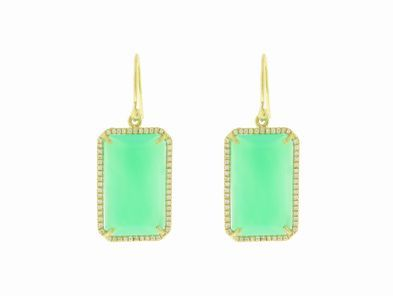 Irene Neuwirth Emerald Cut Chrysophase Earrings with Diamonds