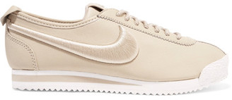 Nike - Cortez 72 Si Embroidered Leather Sneakers - Beige $130 thestylecure.com