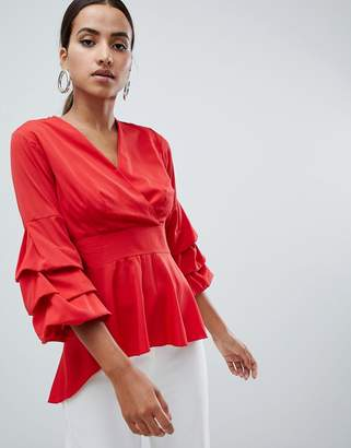 AX Paris wrap front shirt with frill sleeve