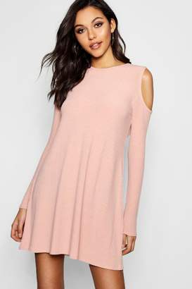 boohoo Cold Shoulder Soft Rib Knit Swing Dress
