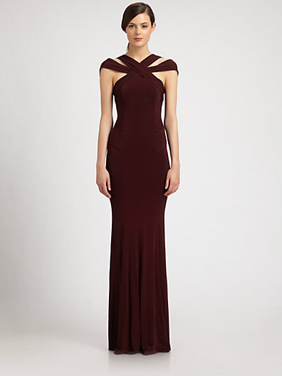 Donna Karan Crossover Crepe Gown