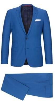 HUGO Boss Basketweave Wool Suit, Slim Fit C-Hutson/C-Gander 46R Open Blue