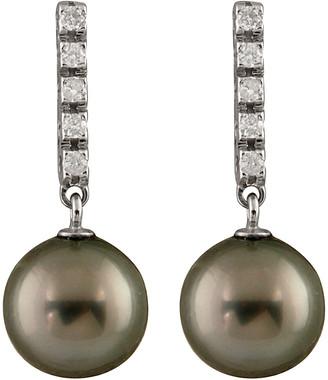Splendid Pearls 14K 0.20 Ct. Tw. Diamond & 9-9.5Mm Tahitian Pearl Drop Earrings