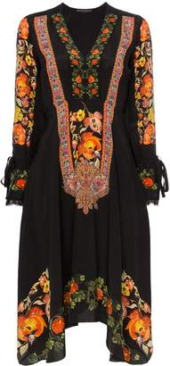 Etro Floral print lace trim silk V-neck dress