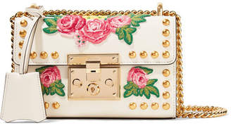 Gucci Padlock Small Appliquéd Studded Leather Shoulder Bag - White