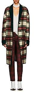 R 13 Women's Raw Cut Plaid Wool Coat-Dk. Green