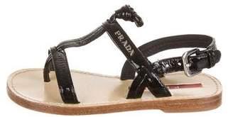 Prada Sport Girls' Patent Leather Strap Sandals