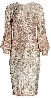 Badgley Mischka Women's Ombre Puff-Sleeve Sequin Sheath Dress