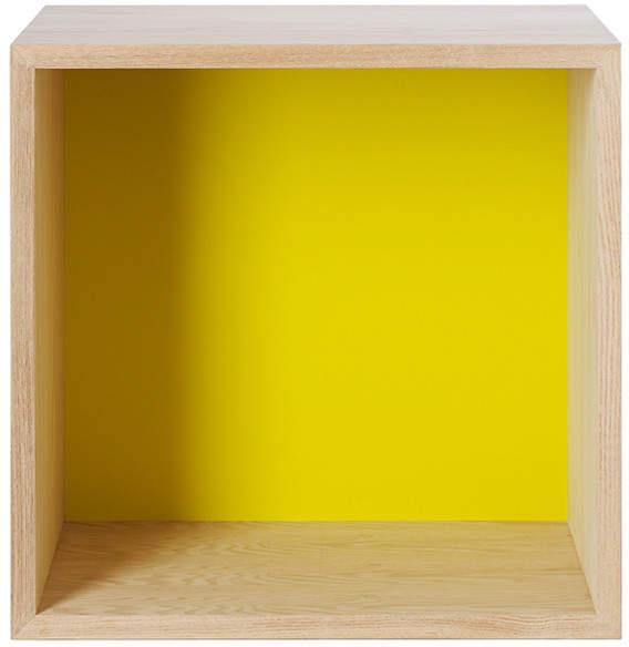 Muuto - Stacked Regalmodul mit Rückwand, medium, Esche natur / Gelb