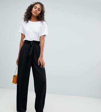 Vero Moda Tall tall waist tie wide leg pants