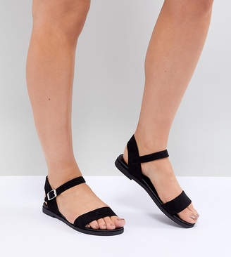 New Look Wide Fit Footbed Suedette Flat Sandal