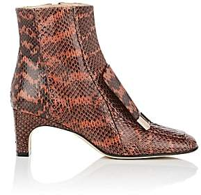 Sergio Rossi WOMEN'S SQUARE-TOE SNAKESKIN ANKLE BOOTS - ROSE SIZE 7.5