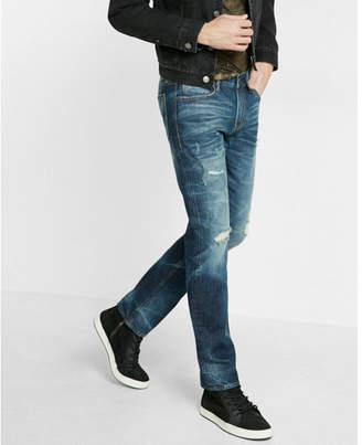 Express slim dark wash ripped 100% cotton jeans