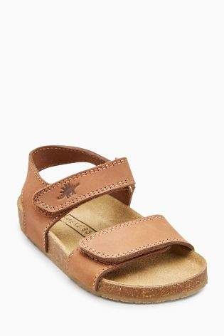 Boys Smart Leather Corkbed Sandals (Younger Boys) - Tan
