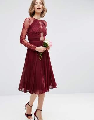ASOS WEDDING Pretty Lace Eyelash Pleated Midi Dress $113 thestylecure.com