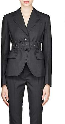 Prada Women's Worsted Wool Belted Blazer - Gray
