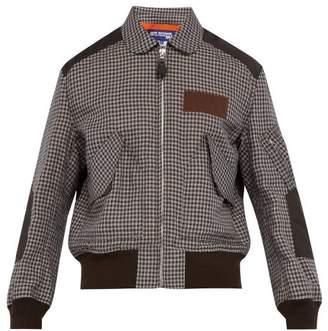 Junya Watanabe Checked Linen Bomber Jacket - Mens - Khaki Multi