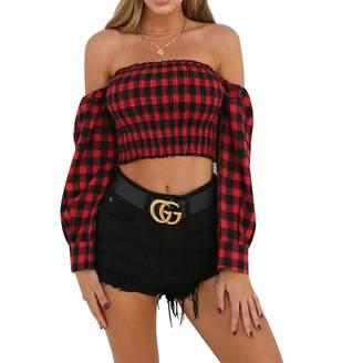 bf59cf70b0a HongHu Women Off Shoulder Long Sleeve Plaid Print Crop Tops Shirt M