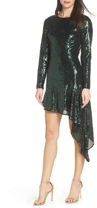 Bronx and Banco Suzanna Sequin Asymmetrical Hem Cocktail Dress