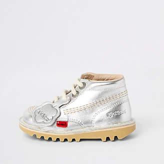 Kickers Mini kids silver lace-up boots
