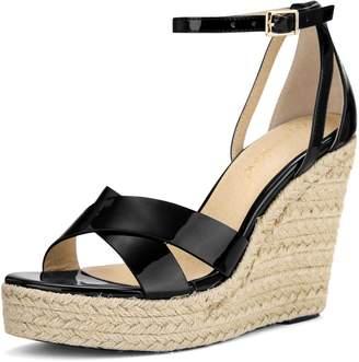 Allegra K Women's Ankle Strap Espadrille Platform Wedge Sandals (Size US 8)