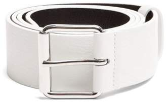 Balenciaga Logo Print Leather Belt - Mens - White Multi
