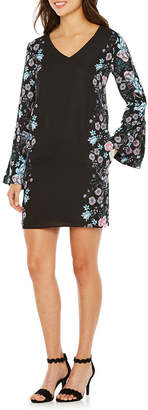 Nicole Miller Nicole By Long Sleeve Floral Shift Dress