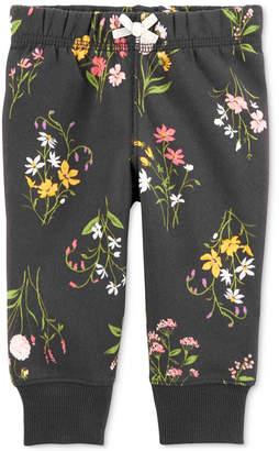 Carter's Baby Girls Floral-Print Fleece Jogger Pants