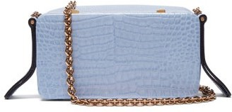 Lutz Morris - Elise Crocodile Effect Leather Shoulder Bag - Womens - Light Blue