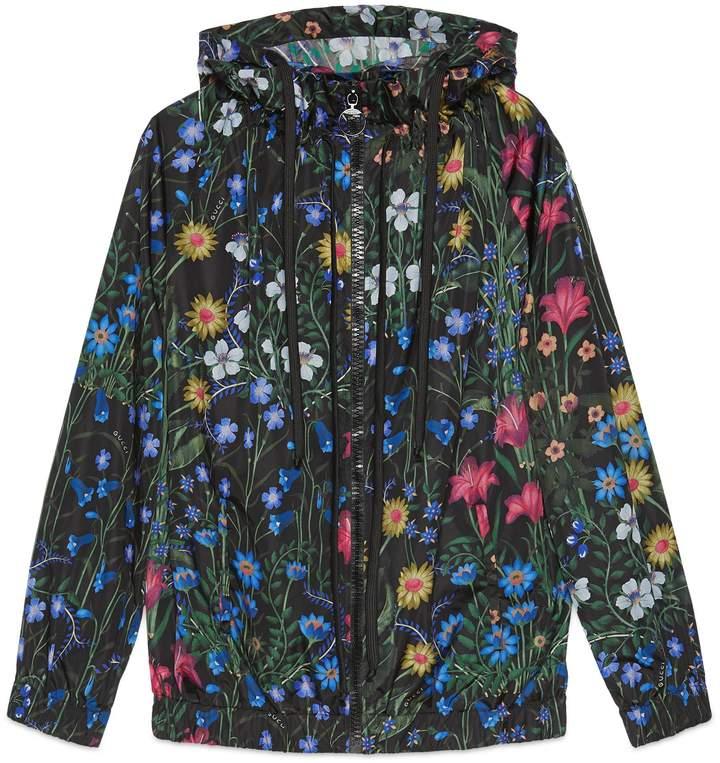 New Flora print nylon jacket