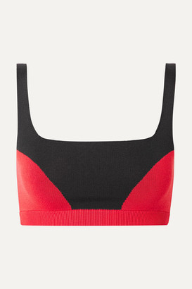 Nagnata - Two-tone Technical-knit Stretch-cotton Sports Bra - Black