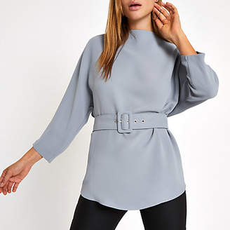 River Island Grey loose fit belted top