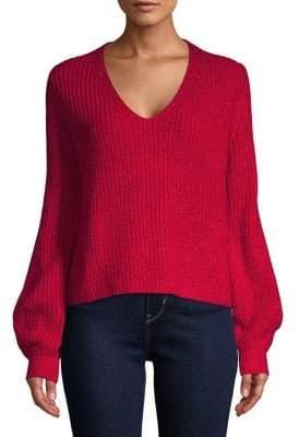 Highline Collective Balloon-Sleeve V-Neck Sweater