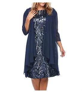 Layla Jones Sequin Dress W Chiffon Overlay