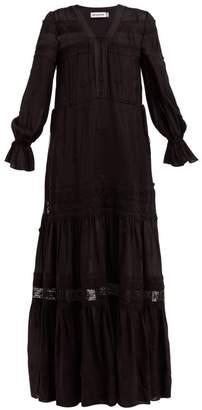 Self-Portrait Self Portrait Plumetis Lace Insert Voile Maxi Dress - Womens - Black