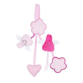 Trousselier Pink Rattle Pacifier Clip