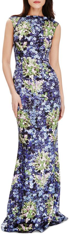 Mary Katrantzou Floral-Print Satin Gown