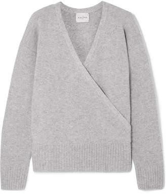 Le Kasha - London Wrap-effect Cashmere Sweater - Light gray