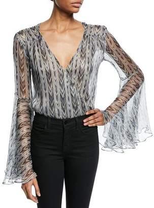 Caroline Constas Bell-Sleeve Chiffon Printed Metallic Bodysuit