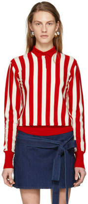 J.W.Anderson Red and Ecru High Neck Knit Pullover