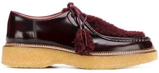 Tod's fur-trim lace-up shoes