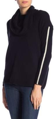 In Cashmere Cashmere Cowl Neck Contrast Stripe Pullover