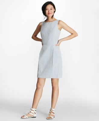 Brooks Brothers Striped Stretch Cotton Seersucker Sheath Dress