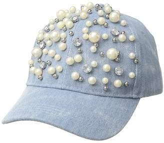 Betsey Johnson Denim with Pearls Baseball Cap Baseball Caps