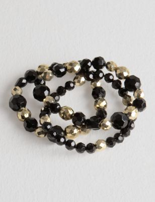 Black And Gold Stretch Bracelets