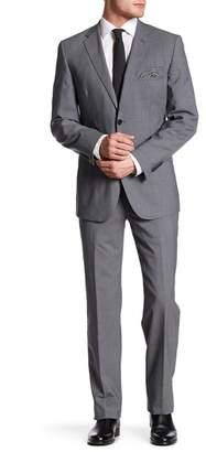 English Laundry Light Grey Plaid Two Button Notch Lapel Wool Suit