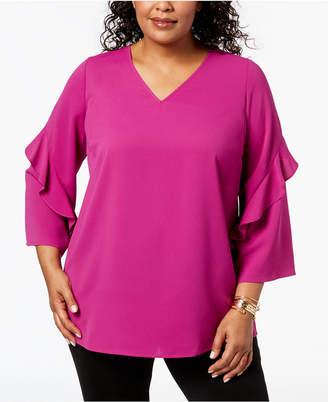 Alfani Plus Size Ruffled V-Neck Top, Created for Macy's
